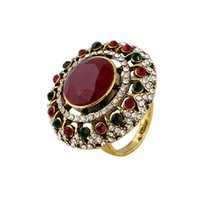 Wholesale 2016 New Fashion crystal fine Party Rings for women Jewelry European Style Vintage Round Gem Retro Ring for women