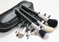 venda por atacado escovas de cabelo-Marca pêlo de cabra 12 pcs MC escova da composição de base em pó mistura de sobrancelha cosméticos Make Up ferramentas de pincel contorno com saco de pincel.
