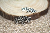 antique jewelry supplies - 20pcs Antique Tibetan Silver Checkered Flags Charms Pendants DIY Supplies Jewelry Making x22mm