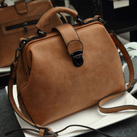 doctor bag - bolsas feminina Retro women messenger bags handbag Doctor bag Fashion brand Shoulder women leather handbags orange bag
