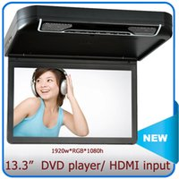Wholesale 13 quot roof mount dvd player Flip Down car dvd player HDMI input car mp5 player vcd cd player USB SD slot