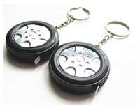 Wholesale Custom Tire Tape Measure with Key Chain Measuring Tape Promo Key Holder Auto Wheel M Mini Promotional Gifts Ring Customize Logo