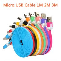 Wholesale New Noodle Micro USB Cable Sync Data Charging M Flat Cord Dual Colors for Samsung iPhone