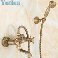 Wholesale Bathroom Bath Wall Mounted Hand Held Antique Brass Shower Head Kit Shower Faucet Sets YT