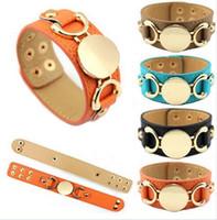 achat en gros de infini or chaud-Bracelet manchette Pulseras Bracelet en cuir 3 Row Plaqué Or Multicolor vente Monogram New Hot en cuir hommes femmes ajustement infini gros