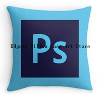 Wholesale Hot Selling Adobe Photoshop Icon Customized Zippered Covers Square Pillowslip for Home Soft Double Printed