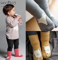 baby socks dog - Children socks baby girls Cartoon dogs fox knitting socks kids all match Knee children Non slip bottom short socks children Stocking A9965