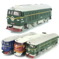 Wholesale Dongfeng locomotive simulation model of acousto optic alloy warrior green train model classic children s toy car