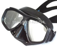 Wholesale Ultra low volume black diving mask adult scuba mask Optical tempered glass lens freedive mask and flexable silicone snorkel set