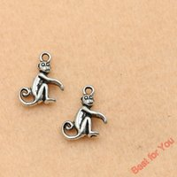 antique monkeys - 100pcs Antique Silver Plated Monkey Charms Pendants For Jewelry Making Craft Diy Handmade x13mm jewelry making
