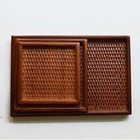 Wholesale Hand made Japanese style wooden tray wooden dish Rattan wood plate kitchen tool dinner ware woven square salad tray