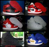 2016 niños retro 1 zapatillas de deporte de los niños de los zapatos de baloncesto blancos negros blancos La alta calidad de los cargadores de las muchachas de los muchachos Retros 1s calza Eur 28-35