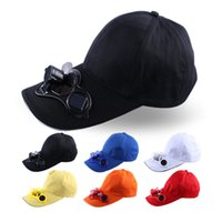 Wholesale 20Pieces Unisex baseball cap with solar powered fan hat Sun hat sunshade cap Outdoor Sports Accessories