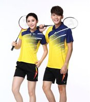Wholesale 100 polyester Authentic badminton shirts Men s and women s short sleeve cultivate one s morality couple tablr tennis skirt wear sets