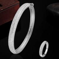 Wholesale Top sale Fashion Women Love Chain Gold Bangle Ring Jewelry Sets K gold Plated Dubai Jewellery Women Wedding Rings Aneis Pulseira Bijoux