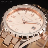 auto resistance bands - Fashion Rose Gold Women s Quartz Watch Stainless Steel Band Water Resistance Auto Date Display Casual Luxury Women Watch TC028