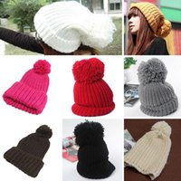 Wholesale Unisex Women Winter Warm Ski Knitted Slouch Cuffed Bobble Pom Hat Beanie Cap