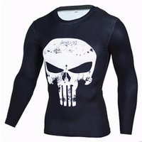 Wholesale Men s Long Sleeve Cycling Shirts Punisher Winter Soldier D Printing Speed Dry Tops Clothing Exercise Tights Breathable Sports T Shirt S XL