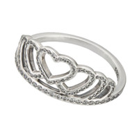 Wholesale Heart Tiara Crown Ring with Clear CZ Sterling Silver Bead Fit Pandora Ring Fashion Jewelry DIY Charm Brand