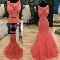 Wholesale 2016 Orange Two Pieces Evening Dresses Formal Scoop Neck Sleeveless Lace Appliqued Prom Gowns Mermaid Long Sweep Train Backless Custom Made