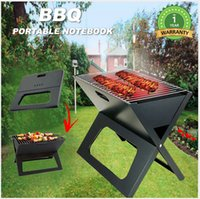 Wholesale Outdoor Portable Notebook Grill BBQ Foldable Folding Charcoal Camping Hiking Fishing Barbecue or Home Garden Picnic Easy Carrying