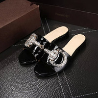 Wholesale Lady Brand Flats Shoes Summer Slippers Rhinestone Cow Leather Non slipping Sole High Quality Original Package Dust Bag Gift Box G1