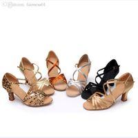 Cheap Wholesale-Professional Satin Women Ballroom Latin Dance shoes Nice High Quality Lady Tango Salsa Jazz Dance Shoes 5.5cm 3cm Heeled wdq132