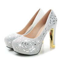 Wholesale Hot Sale CM Heels Women s Fabulous Rhinestone Wedding Shoes Bridal Shoes High Heels Waterproof Shoes for Party