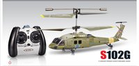 Wholesale Syma S102G RC Toy CH Remote Control Micro Helicopter Black Hawk W Gyro Model Aircraft Simulation Plane