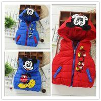 Wholesale Cute New Autumn Children Cartoon Mickey Mouse Vest Fashion Boys Girls Zipper Hooded Waistcoats Kids Cotton Winter Tops Baby Down Jacket