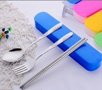 Wholesale Portable tableware three piece stainless steel tableware travel tableware set creative gifts two box style candy box