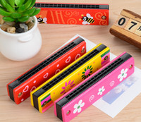 Wholesale Double sixteen hole harmonica children s wooden painted creative enlightenment educational toys children s musical instruments musical Paren
