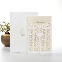 Wholesale New Laser Cut Wedding Invitations Wedding Invitation Card With Gate Flower Hollow Personalized Wedding Invitations BW I0003