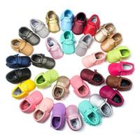 al por mayor suela de cuero para calzado-51 del bebé del color mocasines de cuero de la PU suela blanda primeros zapatos de bebé recién nacido walker zapatos borlas de DHL maccasions zapatos B001
