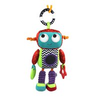 Promoción al por mayor-Limited 32cm suave del bebé de juguete de felpa Cuna Cochecito Robot Colgante Mordedor linda del traqueteo de Bell del anillo de la muñeca