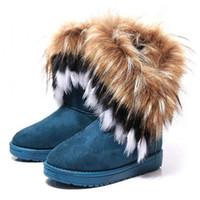 Wholesale Fashion Fox Fur Warm Autumn Winter Wedges Snow Women Boots Shoes GenuineI Mitation Lady Short Boots Casual Long Snow Shoes