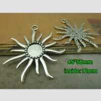 metal sunflower - DIY Fashion Necklace Metal Materials mm Retro Silver Sunflower Base Settings Fit mm Round Cabochon Blank Pendant Tray