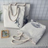 art print bag - Fan art fresh canvas bucket bag handbag shoulder bag female casual bag hemp cloth strap