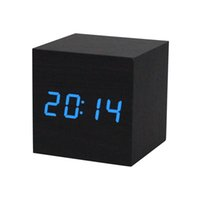 Wholesale 2016 Digital LED Black Wooden Wood Clocks Desk Home Fashion Modern Alarm Clock Voice Control Horloge Christmas Halloween