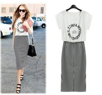 Wholesale The Summer Star with a new T shirt black and white striped long split package hip dress