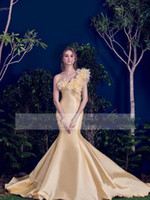 al gray - 2016 New Fashion Al Fahim Mermaid Evening Dresses Gold Vintage One Shoulder With D Flora Western Style Formal Occasion Pageant Prom Dresse