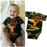 animal racks - 2016 I Like Big Racks Baby Boy Clothes Camo Romper Jumsuit Bodysuit Outfit One pieces