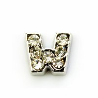 Wholesale 20pcs DIY alphabet CRYSTAL SILVER INITIAL W floating charms for glass Lockets SH741
