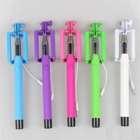 Wholesale Monopod Selfie Stick with Groove Tripod Cable Handheld Telescopic Monopod With Holder for IPhone Android Phone