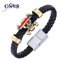 Wholesale Hot Animation Luffy Alloy Bracelets One Piece Weave leather bracelet Bangle cosplay jewelry