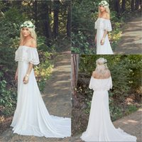 maternity wedding dresses - 2016 Vintage Romantic Bohemian Wedding Dresses Bateau Neck Sweep Train Lace Chiffon A Line Plus Size Maternity Bridal Gowns