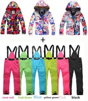 Wholesale fashion Hot sale Female snowboard ski suit clothes sets windproof waterproof flower ski jackets whith pants