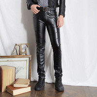 Wholesale Male Black Leather Pants Super Skinny Motorcycle Biker Faux Leather Pu Trousers For Men