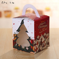 bakery supplies boxes - 50pcs Cookie Package Merry Christmas of Christmas Trees Colorful Dots Bakery Box Biscuit Box Cake Box cm PP686