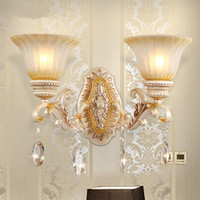 Wholesale 1 piece Europe type double headed glass chimney wall lamp Hallway stairs crystal wall lamp Sitting room background wall lamp